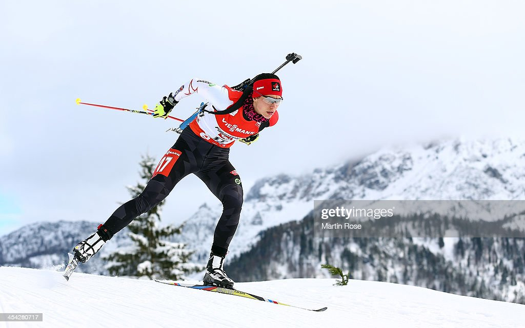 Rosanna Crawford of Canada competes in the women's 10km pursuit event during the IBU Biathlon World Cup on December 8, 2013 in Hochfilzen, Austria.