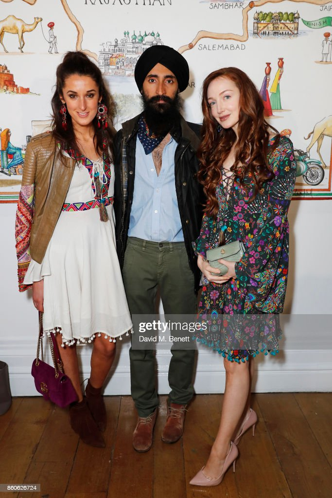 Rosanna Falconer, Waris Ahluwalia and Olivia Grant attend the Travels to My Elephant racer send-off party hosted by Ruth Ganesh, Ben Elliot and Waris Ahluwalia in association with The Luxury Collection at 1 Horse Guards Avenue on October 12, 2017 in London, England.