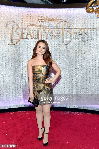 Rosanna Pansino arrives at the world premiere of Disney's new liveaction 'Beauty and the Beast' photographed in front of the Swarovski crystal wall...