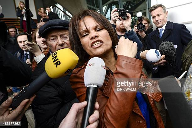 Rosanna Rodriguez mother of Brian De Mulder a fighter in Syria leaves the court in Antwerp on February 11 2015 after the verdict in the terrorism...