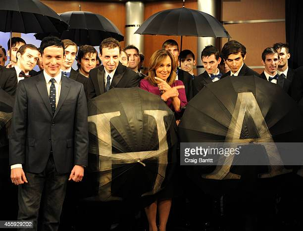 Rosanna Scotto and Robin Lord Taylor attend Good Day New York for the'Gotham' Oswald Cobblepot New York City Takeover on September 22 2014 in New...