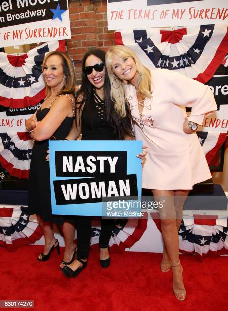 Rosanna Scotto Jenna Ruggiero and Christie Brinkley attend the Broadway Opening Night Performance for 'Michael Moore on Broadway' at the Belasco...