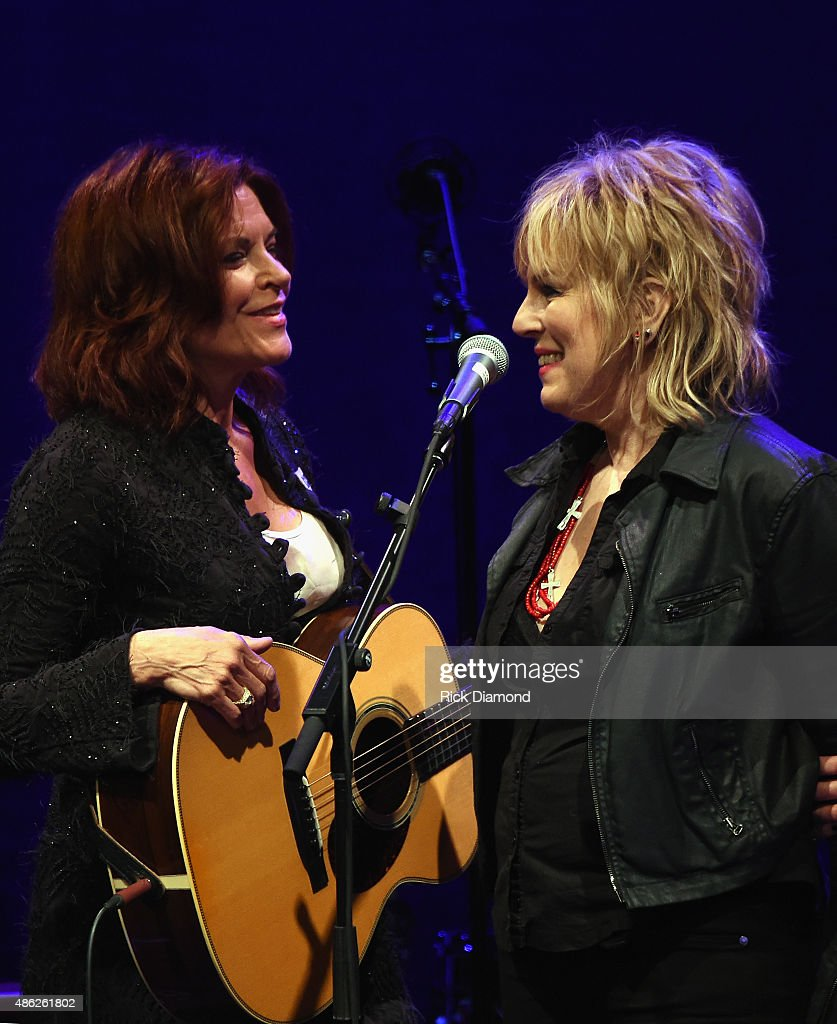 Rosanne Cash is joined by Lucinda Williams during Rosanne Cash Performs 'The River And The Thread' During Her First Artist-in-Residence Show at The Country Music Hall of Fame and Museum on September 2, 2015 in Nashville, Tennessee.