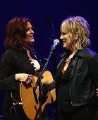 Rosanne Cash is joined by Lucinda Williams during Rosanne Cash Performs 'The River And The Thread' During Her First ArtistinResidence Show at The...