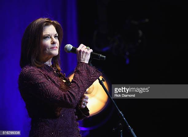 Rosanne Cash performs at The Life Songs of Kris Kristofferson produced by Blackbird Presents at Bridgestone Arena on March 16 2016 in Nashville...