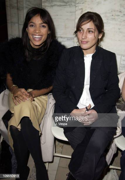 Rosario Dawnson and Summer Phoenix during MercedesBenz Fashion Week Fall 2003 Collections Jill Stuart Front Row in New York NY United States