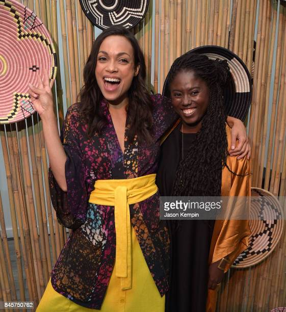 Rosario Dawson and Abrima Erwiah attend the Studio 189 fashion show during New York Fashion Week at Metropolitan Pavilion on September 11 2017 in New...