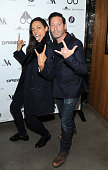 Rosario Dawson and Adam Nelson attends the US launch of Moose Knuckles at Dream Downtown on October 20 2014 in New York City