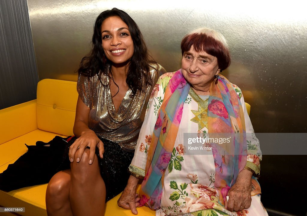 Rosario Dawson and Agnes Varda attend the after party for the premiere of Cohen Media Group's 'Faces Places' at Pacific Design Center on October 11, 2017 in West Hollywood, California.