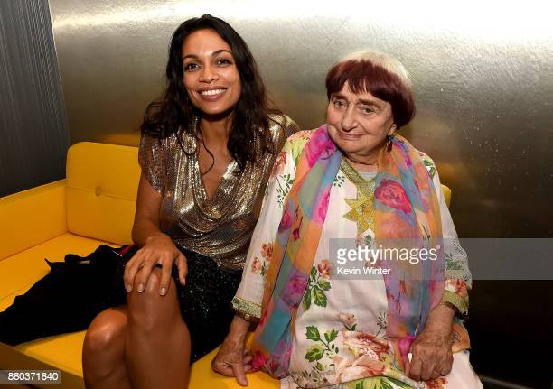Rosario Dawson and Agnes Varda attend the after party for the premiere of Cohen Media Group's 'Faces Places' at Pacific Design Center on October 11...