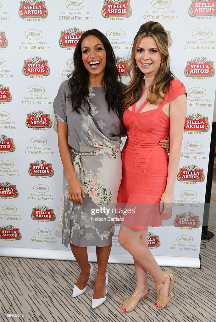 Rosario Dawson and Carly Steel at The Stella Artois Suite during The 66th Annual Cannes Film Festival at Radisson Blu on May 23, 2013 in Cannes, France.