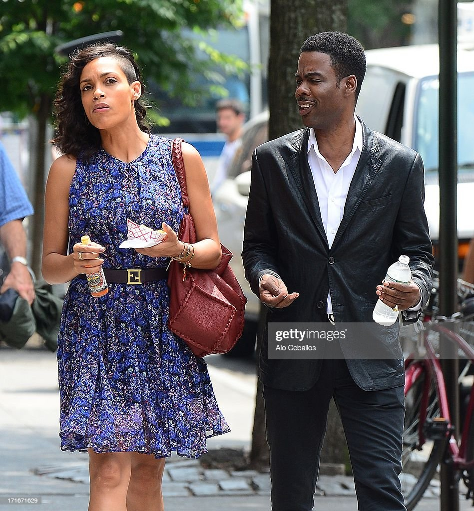 <a gi-track='captionPersonalityLinkClicked' href=/galleries/search?phrase=Rosario+Dawson&family=editorial&specificpeople=201472 ng-click='$event.stopPropagation()'>Rosario Dawson</a> and <a gi-track='captionPersonalityLinkClicked' href=/galleries/search?phrase=Chris+Rock&family=editorial&specificpeople=202982 ng-click='$event.stopPropagation()'>Chris Rock</a> are seen on the set of 'The Untitled <a gi-track='captionPersonalityLinkClicked' href=/galleries/search?phrase=Chris+Rock&family=editorial&specificpeople=202982 ng-click='$event.stopPropagation()'>Chris Rock</a> Project' on June 27, 2013 in New York City.