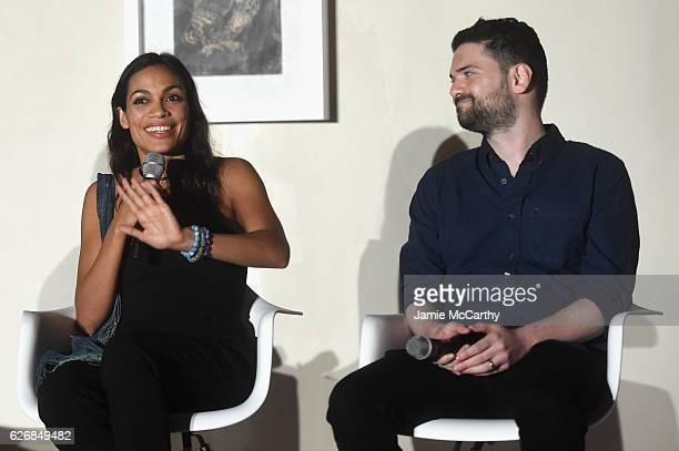 Rosario Dawson and Dan Trachtenberg speak at the 'Open Worlds Art In The Age Of Interactivity' panel in Miami at Audemars Piguet Art Commission...