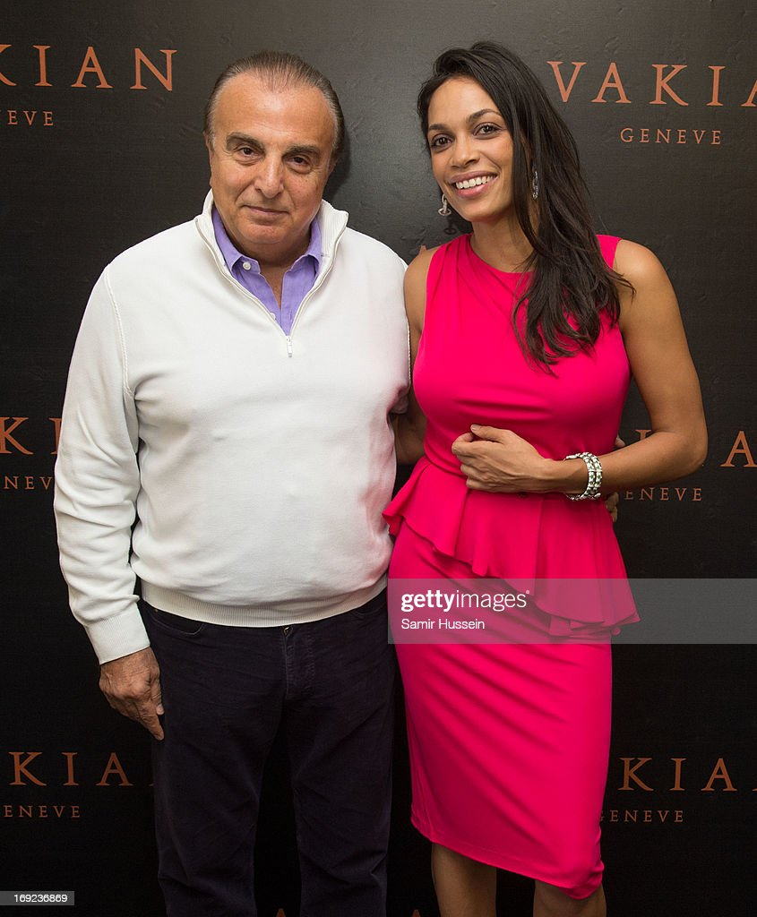Rosario Dawson and Edmond Avakian visits the Avakian suite wearing Avakian jewellery during the 66th Cannes Film Festival on May 22, 2013 in Cannes, France.