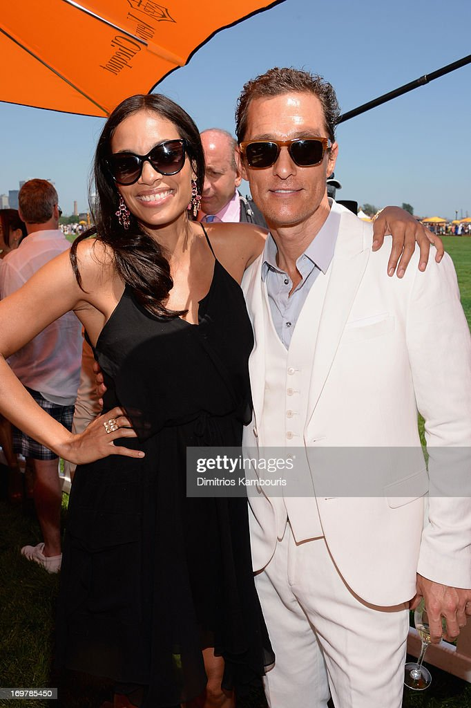 Rosario Dawson and Matthew McConaughey attends the VIP Marquee during the sixth annual Veuve Clicquot Polo Classic on June 1, 2013 in Jersey City.