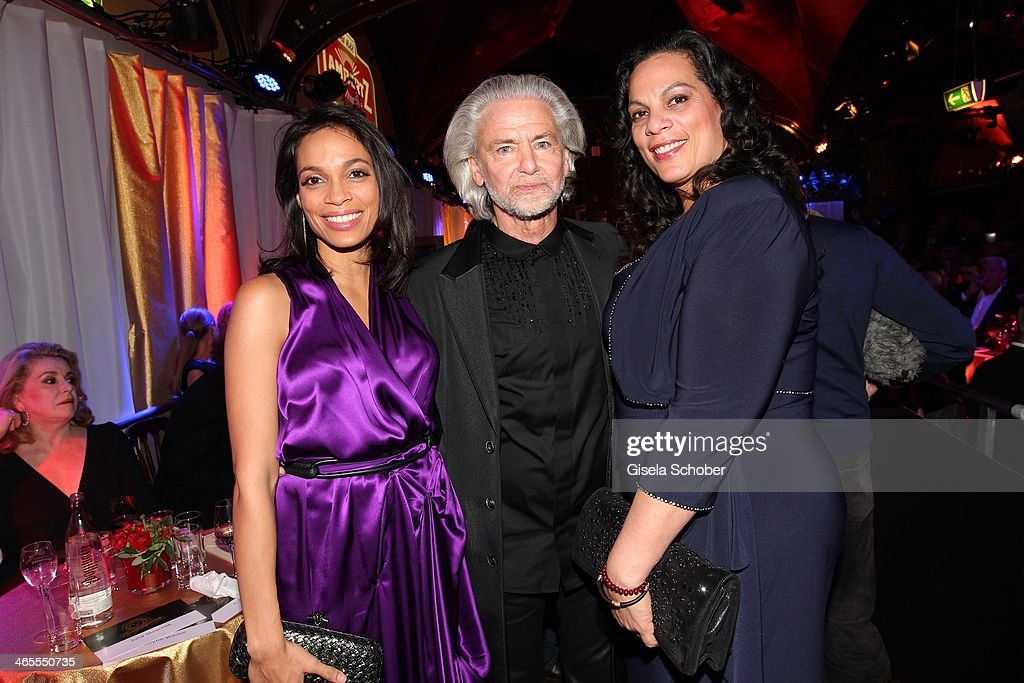Rosario Dawson and mother Isabel Celeste , Hermann Buehlbecker attend the Lambertz Monday Night at Alter Wartesaal on January 27, 2014 in Cologne, Germany.