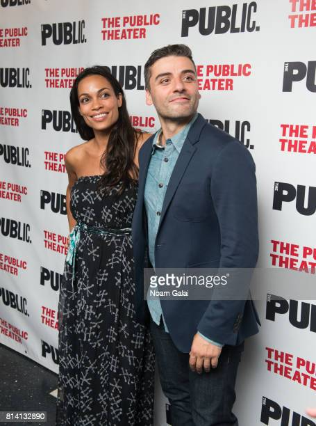 Rosario Dawson and Oscar Isaac attend the opening night of 'Hamlet' at The Public Theater on July 13 2017 in New York City