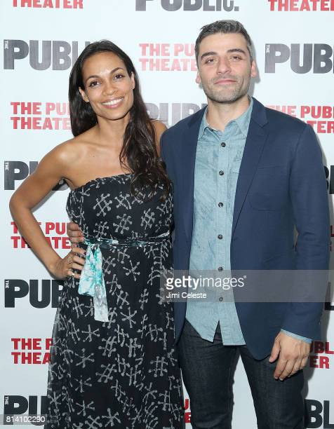 Rosario Dawson and Oscar Isaac attends the opening night of 'Hamlet' at The Public Theater on July 13 2017 in New York City