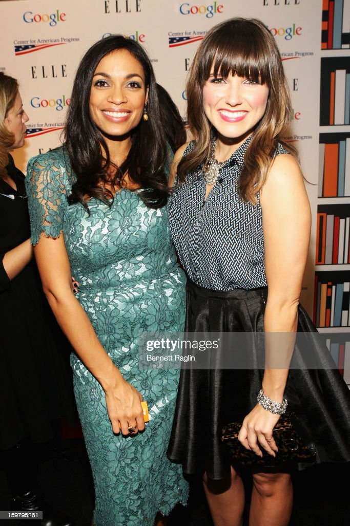 Rosario Dawson and Sophia Bush attend a celebration for leading women in Washington hosted by GOOGLE, ELLE, and The Center for American Progress on January 20, 2013 in Washington, United States.