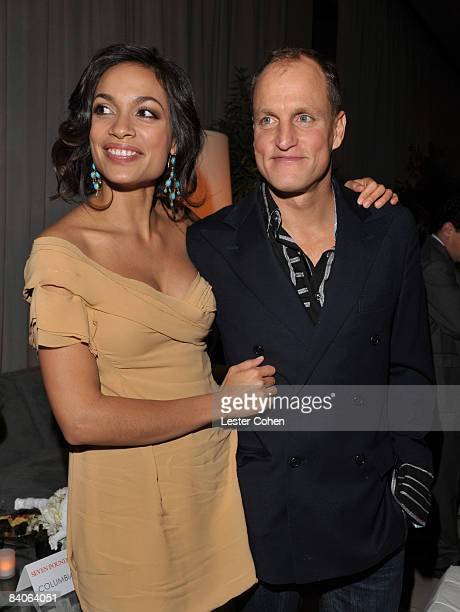 Rosario Dawson and Woody Harrelson attend the after party of the Los Angeles premiere of 'Seven Pounds' on December 16 2008 in Los Angeles California
