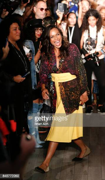 Rosario Dawson appears on the runway before the Studio 189 By Rosario Dawson And Abrima Erwiah fashion show on September 2017 during New York Fashion...