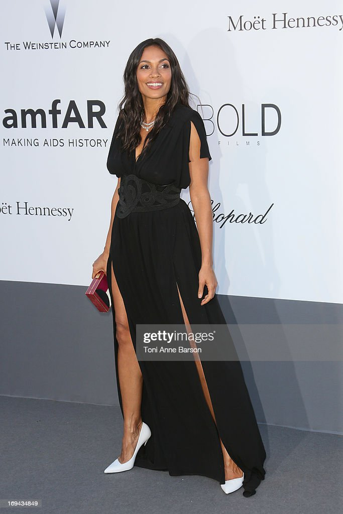 Rosario Dawson arrives at amfAR's 20th Annual Cinema Against AIDS at Hotel du Cap-Eden-Roc on May 23, 2013 in Cap d'Antibes, France.
