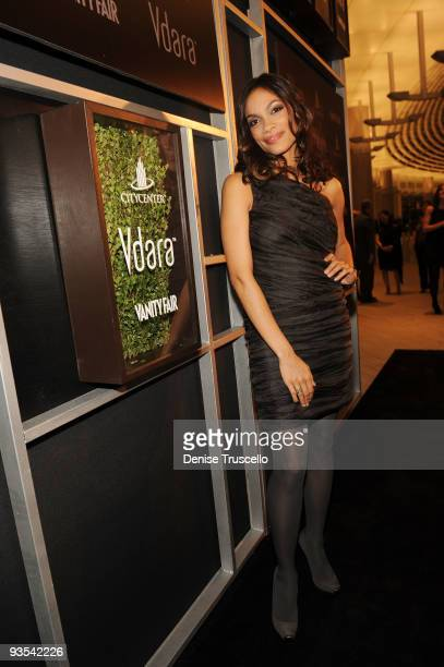 Rosario Dawson arrives at the Vanity Fair party at the grand opening of Vdara Hotel Spa at CitiCenter on December 1 2009 in Las Vegas Nevada The...