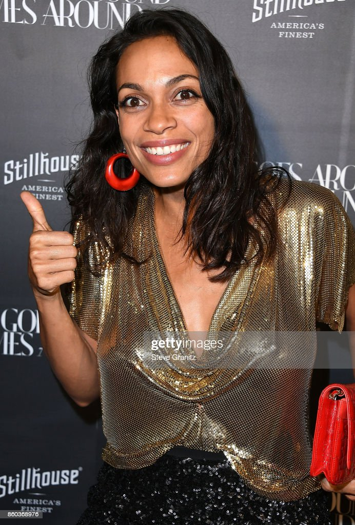 Rosario Dawson arrives at the What Goes Around Comes Around One Year Anniversary at What Goes Around Comes Around on October 11, 2017 in Beverly Hills, California.