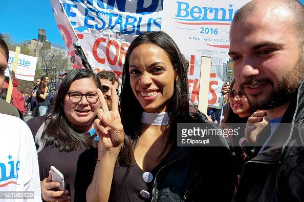 Rosario Dawson attends a march for Democratic presidential candidate US Senator Bernie Sanders in Union Square on April 16 2016 in New York City