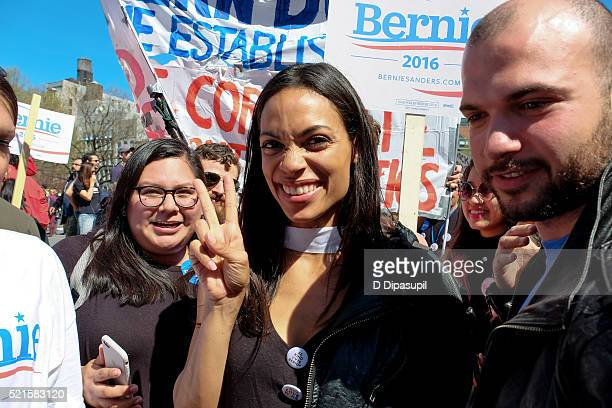 Rosario Dawson attends a march for Democratic presidential candidate US Senator Bernie Sanders in Union Square on April 16 2016 in New York City