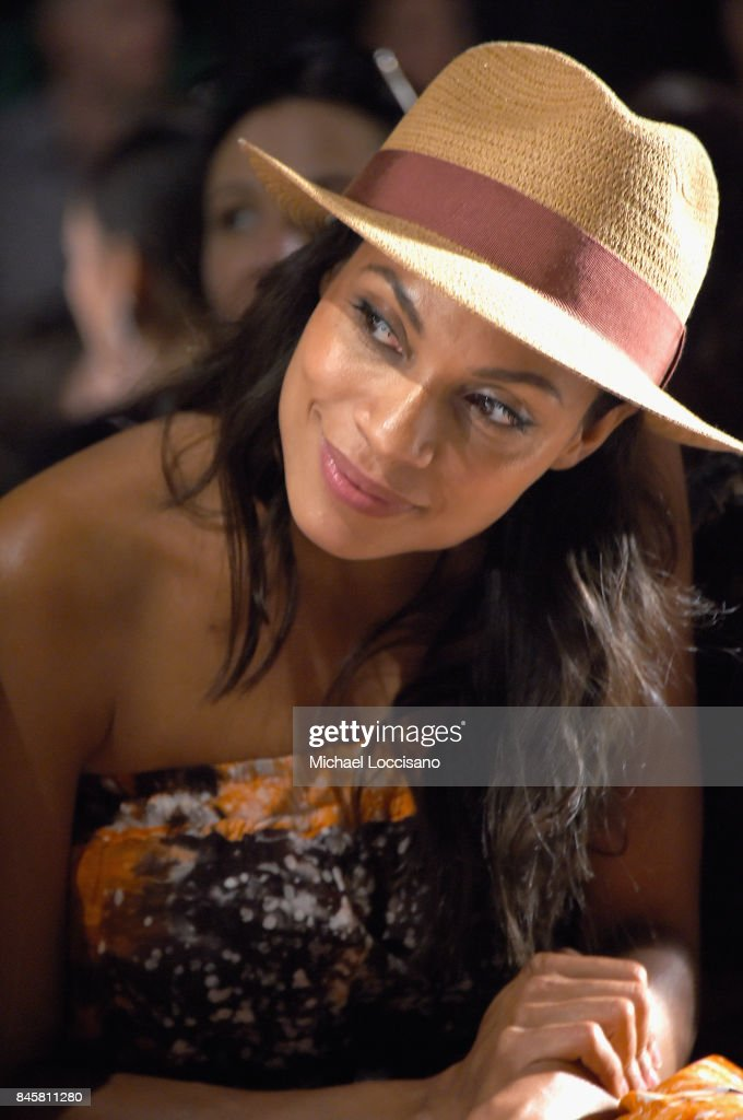 Rosario Dawson attends Anna Sui fashion show during New York Fashion Week: The Shows at Gallery 1, Skylight Clarkson Sq on September 11, 2017 in New York City.