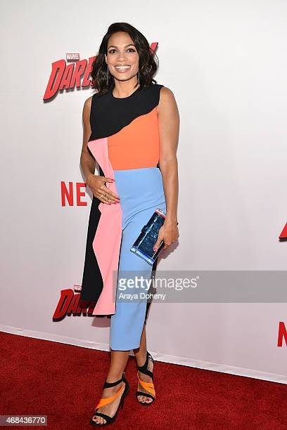 Rosario Dawson attends Netflix's new original series 'Marvel's Daredevil' Los Angeles premiere at Regal Cinemas LA Live on April 2 2015 in Los...