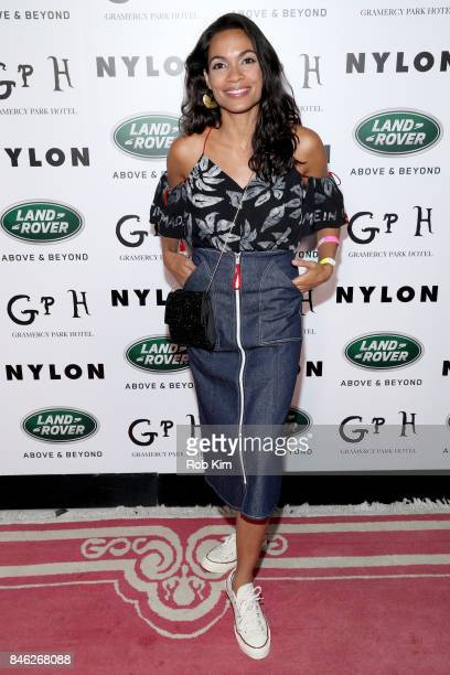 Rosario Dawson attends NYLON's Rebel Fashion Party powered by Land Rover at Gramercy Terrace at Gramercy Park Hotel on September 12 2017 in New York...