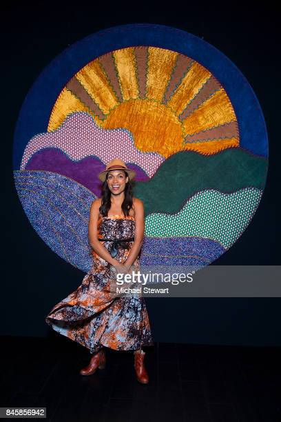 Rosario Dawson attends the Ann Sui fashion show during New York Fashion Week The Shows at Gallery 1 Skylight Clarkson Sq on September 11 2017 in New...
