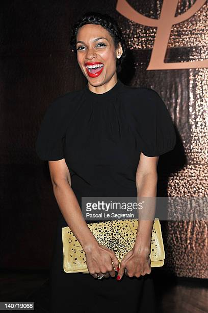 Rosario Dawson attends the Yves SaintLaurent ReadyToWear Fall/Winter 2012 show as part of Paris Fashion Week on March 5 2012 in Paris France