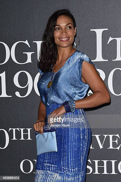 Rosario Dawson attends Vogue Italia 50th Anniversary during Milan Fashion Week Womenswear Spring/Summer 2015 on September 21 2014 in Milan Italy