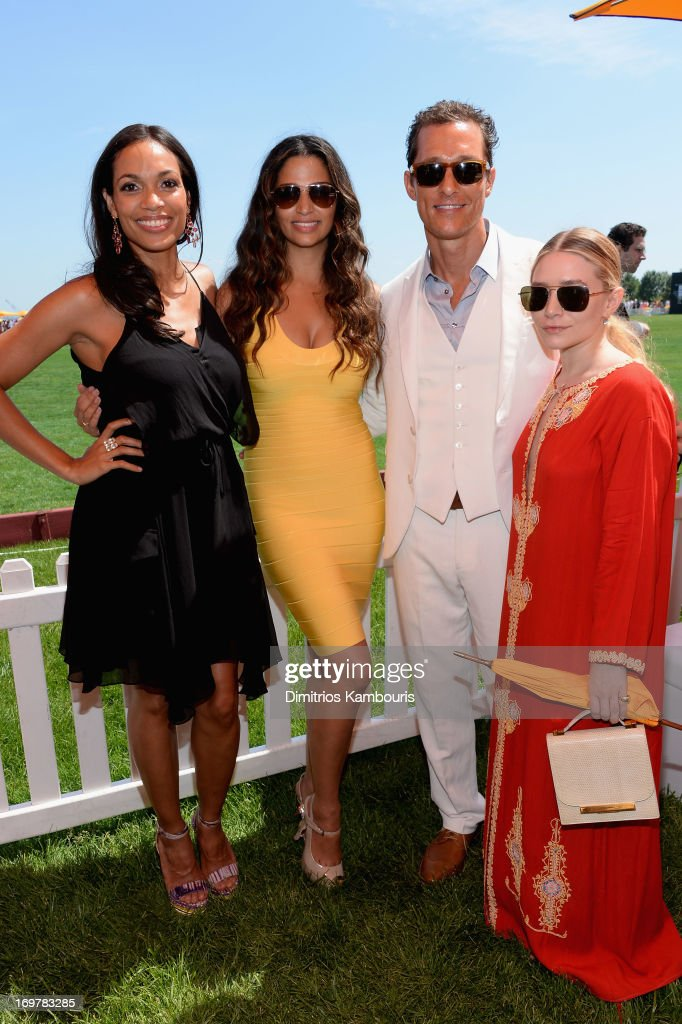 Rosario Dawson, Camila Alves, Matthew McConaughey and Ashley Olson attend the VIP Marquee during the sixth annual Veuve Clicquot Polo Classic on June 1, 2013 in Jersey City.