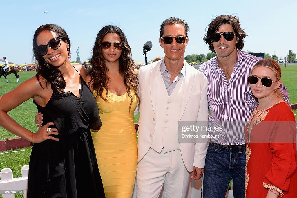 Rosario Dawson, Camila Alves, Matthew McConaughey, Nacho Figueras and Ashley Olson attend the VIP Marquee during the sixth annual Veuve Clicquot Polo Classic on June 1, 2013 in Jersey City.