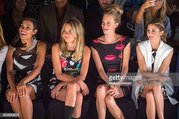 Rosario Dawson Camille Rowe Poppy Delevingne and Olivia Palermo attend Desigual during MercedesBenz Fashion Week Spring 2015 at The Theatre at...