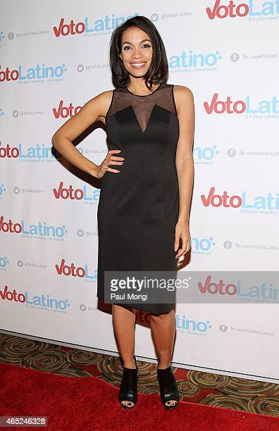 Rosario Dawson CoFounder and Chair Voto Latino poses for photos at Voto Latino's 10th Anniversary Celebration at Hamilton Live on March 4 2015 in...