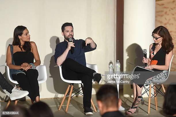 Rosario Dawson Dan Trachtenberg and Diane Solway speak at the 'Open Worlds Art In The Age Of Interactivity' panel in Miami at Audemars Piguet Art...