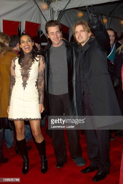 Rosario Dawson Ed Norton and Barry Pepper during 25th Hour World Premiere at Ziegfeld Theater in New York New York United States