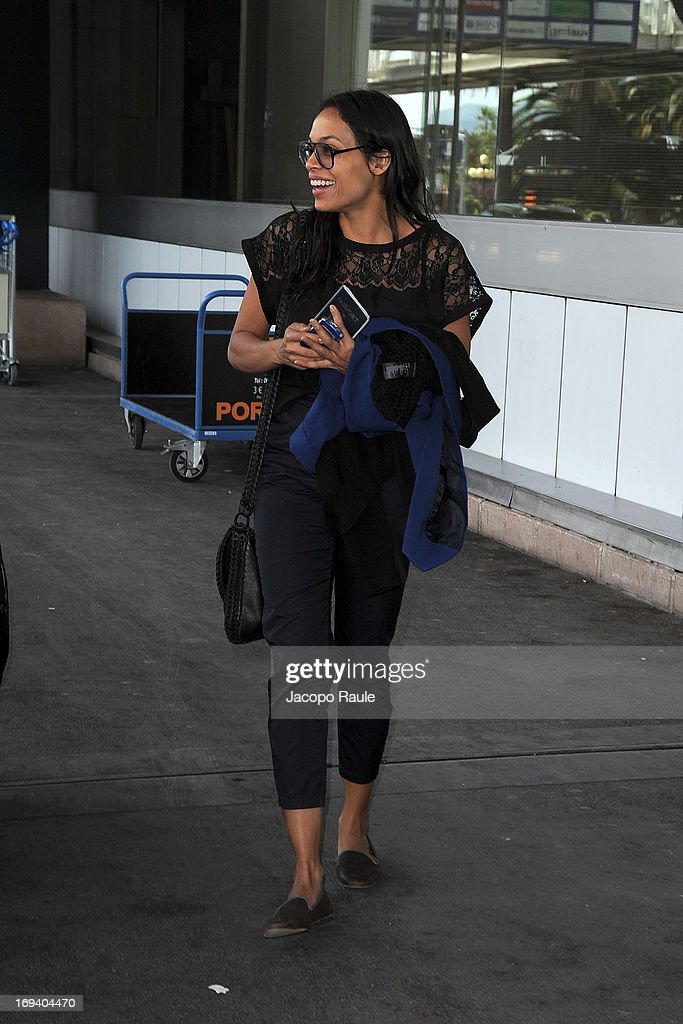 Rosario Dawson is seen arriving at Nice airport during The 66th Annual Cannes Film Festival on May 24, 2013 in Nice, France.