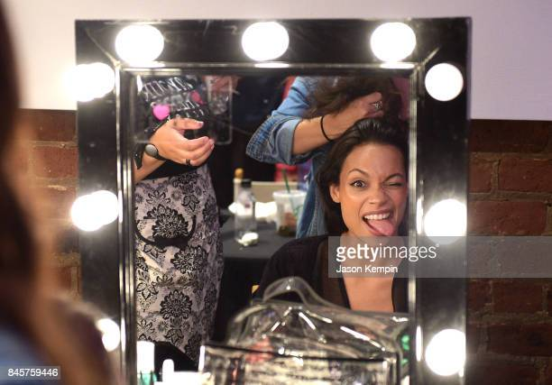 Rosario Dawson is seen backstage during the Studio 189 show during New York Fashion Week at Metropolitan Pavilion on September 11 2017 in New York...