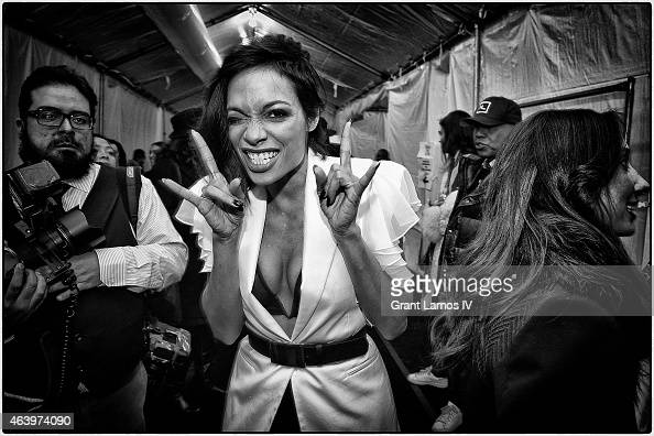 Rosario Dawson is seen during MercedesBenz Fashion Week Fall 2015 at Lincoln Center for the Performing Arts on February 14 2015 in New York City