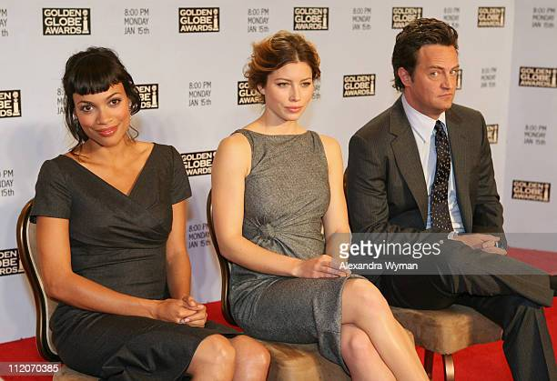 Rosario Dawson Jessica Biel and Matthew Perry during The 64th Annual Golden Globe Awards Nominations in Los Angeles California United States