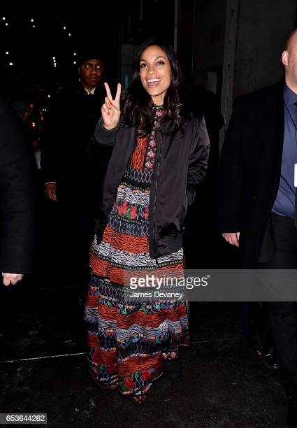 Rosario Dawson leaves Marvel's 'Iron Fist' New York screening at AMC Empire 25 on March 15 2017 in New York City