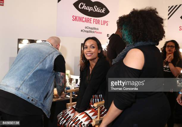 Rosario Dawson prepares backstage at Kia STYLE360 Hosts Studio189 by Rosario Dawson and Abrima Erwiah Presented by the All New 2018 Kia Stinger at...