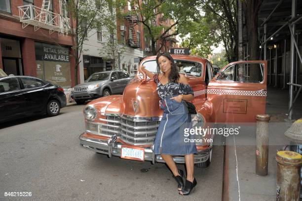 Rosario Dawson spotted in the Absolut Elyx Copper Cab at New York Fashion Week on September 12 2017 in New York City