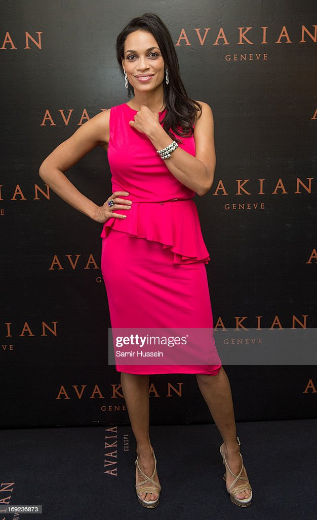 Rosario Dawson visits the Avakian suite wearing Avakian jewellery during the 66th Cannes Film Festival on May 22, 2013 in Cannes, France.